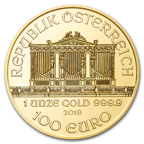 2019 1 oz .9999 BU Gold Austrian Philhormonic - Click Image to Close